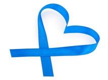 Ruban bleu de coeur Image stock