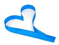 Ruban bleu de coeur Photographie stock libre de droits