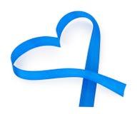 Ruban bleu de coeur Images libres de droits