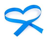 Ruban bleu de coeur Photo libre de droits