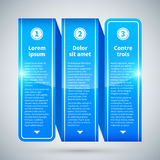 Ruban brillant bleu avec trois options verticales Photos libres de droits