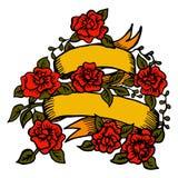 Ruban classique de tatouage avec des roses Photographie stock libre de droits