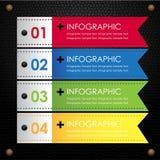 Ruban coloré infographic noir en cuir Photo stock