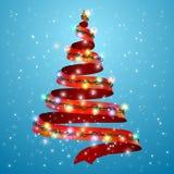 Ruban d'arbre de Noël sur le fond Lumières rougeoyantes pour le design de carte de salutation de vacances de Noël Une nouvelle an illustration stock