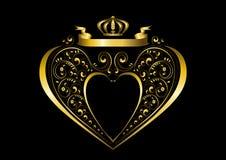 Ruban d'or avec une couronne au-dessus d'un cadre en forme de coeur d'or et avec le modèle des détails courbés calligraphiques illustration de vecteur