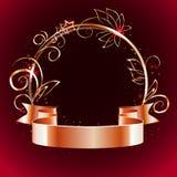 Ruban d'or et cadre rond avec les éléments décoratifs Photos stock
