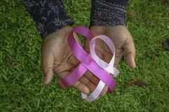 Ruban de conscience de cancer du sein photos stock