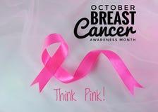 Ruban de conscience de cancer du sein de mois en octobre Image stock