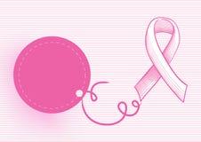 Ruban de conscience de cancer du sein avec l'étiquette EPS10 de coup Images stock