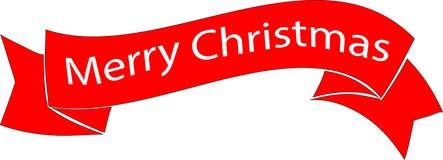 Ruban de Joyeux Noël de couleur rouge images stock