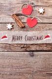 Ruban de Noël sur le fond en bois Photographie stock libre de droits