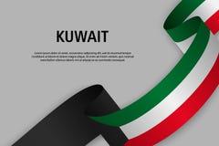Ruban de ondulation avec le drapeau du Kowéit illustration stock