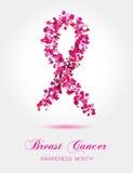 Ruban de petits coeurs colorés, symb de conscience de cancer du sein Photos libres de droits