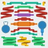 Ruban et bannières plats de style de conception Images libres de droits