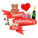 Ruban heureux de rouge de jour de valentines illustration libre de droits