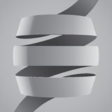 Ruban incurvé par tissu gris sur le fond gris Photos libres de droits
