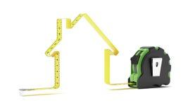 Ruban métrique sous forme de maison illustration de vecteur
