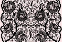 Ruban noir sans couture abstrait de dentelle avec le modèle floral féminin illustration de vecteur