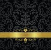 Ruban noir sans couture de papier peint floral et d'or Images libres de droits