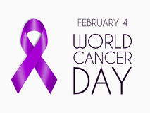 Ruban pourpre réaliste, symbole de jour de cancer du monde, signe d'appui 4 février bannière avec la bande, le texte et la date d Image stock