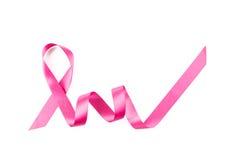 Ruban rose de cancer du sein d'isolement images libres de droits
