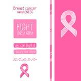 Ruban rose, symbole international de conscience de cancer du sein illustration stock