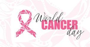 Ruban rose tiré par la main de vecteur sur le fond blanc Mois de conscience de cancer du sein images libres de droits
