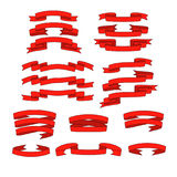 Ruban rouge avec des bannières d'ombre réglées Image libre de droits