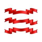 Ruban rouge avec des bannières de vecteur de gradient réglées Photographie stock