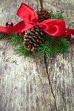 Ruban rouge avec des branches d'arbre Photos stock