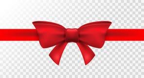 Ruban rouge avec l'arc rouge Décoration d'arc d'isolement par vecteur pour le présent de vacances Élément de cadeau pour le desig Photographie stock libre de droits