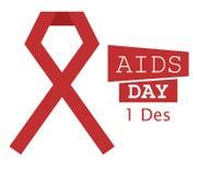 Ruban rouge 1 d'illustration de Journée mondiale contre le SIDA Photo stock