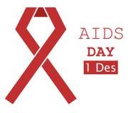 Ruban rouge 3 d'illustration de Journée mondiale contre le SIDA Image libre de droits