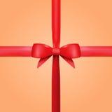 Ruban rouge de cadeau de vecteur avec l'arc Photographie stock libre de droits