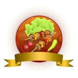 Ruban rouge de cadre de cercle d'or jaune de fond de gril de nourriture de barbecue de salade de tomate de vert végétal abstrait  Photographie stock libre de droits