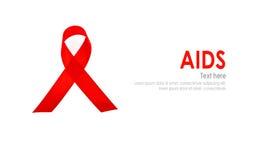 Ruban rouge de coeur de conscience de SIDA d'isolement sur le fond blanc Image libre de droits