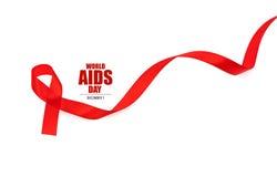 Ruban rouge de coeur de conscience de SIDA d'isolement sur le fond blanc Photos stock