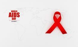 Ruban rouge de coeur de conscience de SIDA sur la carte du monde Image libre de droits