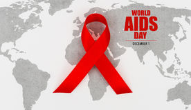 Ruban rouge de coeur de conscience de SIDA sur la carte du monde Photo stock