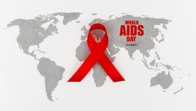 Ruban rouge de coeur de conscience de SIDA sur la carte du monde Photos stock