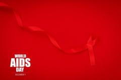 Ruban rouge de coeur de conscience de SIDA sur le fond rouge Photos libres de droits