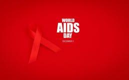 Ruban rouge de coeur de conscience de SIDA sur le fond rouge Photo stock