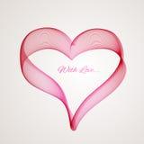 Ruban rouge de coeur sur le fond blanc illustration libre de droits