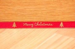Ruban rouge de Joyeux Noël Photo libre de droits