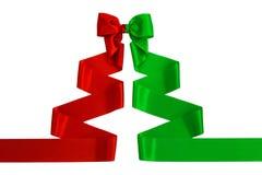 Ruban rouge et vert de satin avec l'arc photos libres de droits