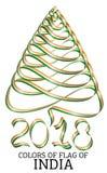 Ruban sous forme d'arbre de Noël avec les couleurs du drapeau de l'Inde illustration libre de droits