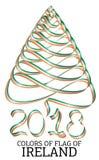 Ruban sous forme d'arbre de Noël avec les couleurs du drapeau de l'Irlande illustration libre de droits