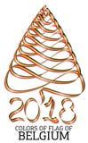 Ruban sous forme d'arbre de Noël avec les couleurs du drapeau de la Belgique illustration de vecteur