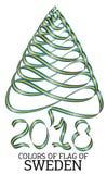 Ruban sous forme d'arbre de Noël avec les couleurs du drapeau de la Suède illustration stock