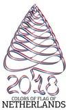 Ruban sous forme d'arbre de Noël avec les couleurs du drapeau des Pays-Bas illustration libre de droits